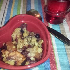Apple Crisp & Quick-Crystallized Ginger in a Classic Crisp + Seasonal Fruits