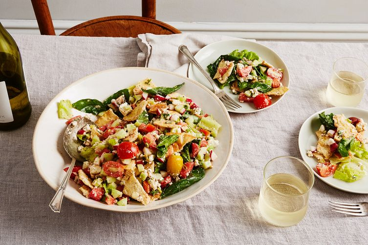 Torn Pita Panzanella/Fattoush with Salad Greens, Sumac & Feta Cheese