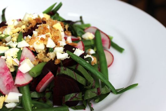 Beet Salad with Crispy Crumbs and Egg
