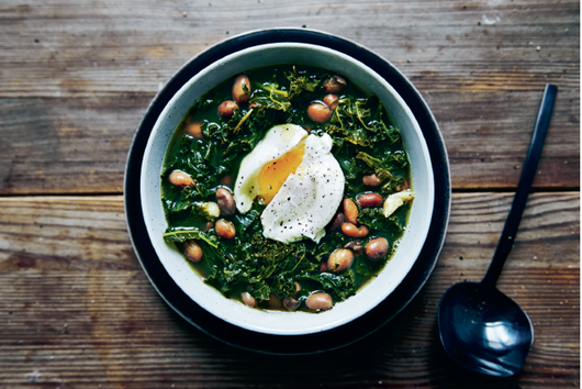 Kale & Borlotti Bean Soup with Poached Eggs