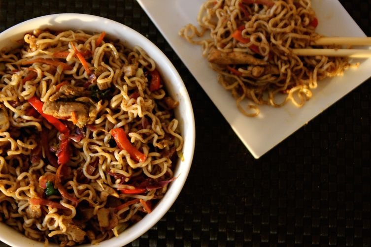 Jerk-Spiced Chicken Hakka Noodles
