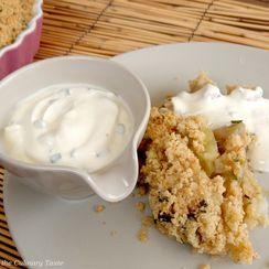 Leek and Sunchoke Savory Crumble with Greek Yoghurt Sauce