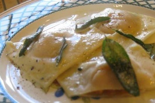 Butternut squash ravioli with crispy sage butter sauce