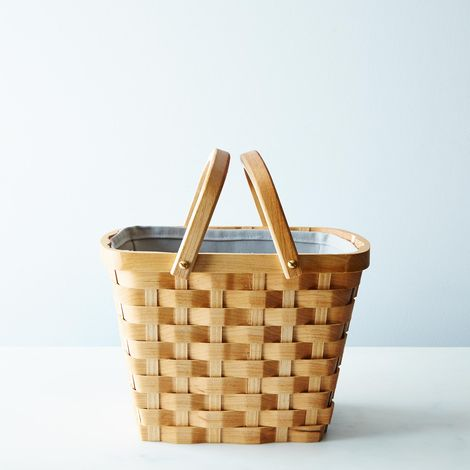 Wood Market Basket with Liner