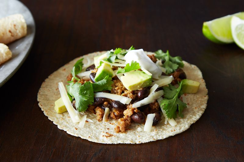 Coconut-Lime Pork Tacos with Black Beans and Avocado