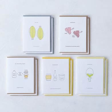 Food-Inspired Friendship & Love Cards (Pack of 10)