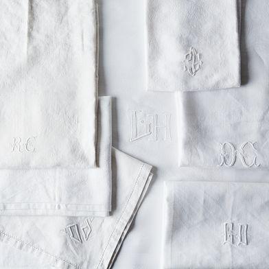 Vintage White Monogrammed French Napkins