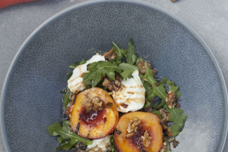 Roasted Nectarines with Buffalo Mozarella, Walnut Pesto and Rocket