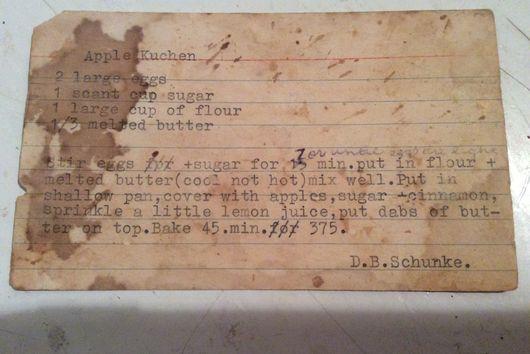 Mrs. Shunke's Apple Kuchen