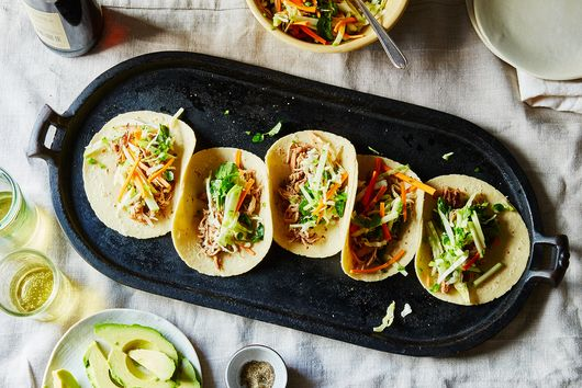 Apple Cider-Ginger Braised Pork Shoulder Tacos with Apple-Cabbage Slaw
