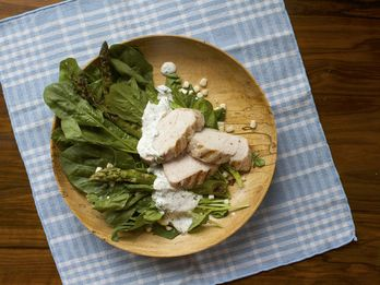Grilled Chicken and Asparagus Salad with Dilly Farmers Cheese Dressing