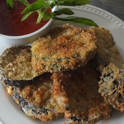 Panko Crusted Aubergine with Spicy Sauce