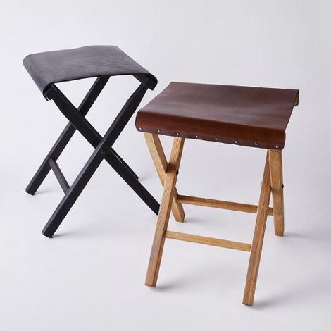 Fold-Up Expedition Leather & Wood Stool