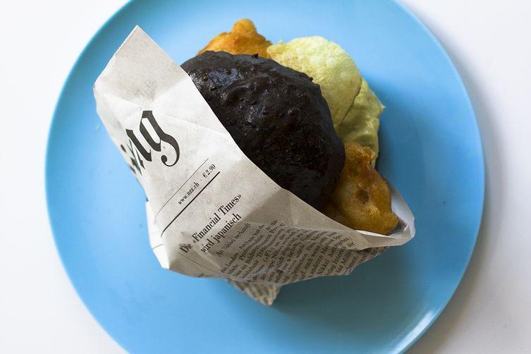 Black Bun Fish and Chips Burger