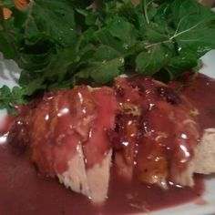 Roast Chicken with Dijon Cherry Gravy