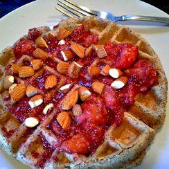 Lemon Poppy Seed Waffles with Strawberry Jam