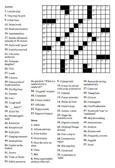 Food Crossword: The Great American Sandwich