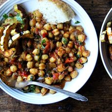 "Stewy Chickpea ""Tagine"" with Tomatoes, Cilantro and Golden Raisins"