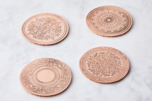 Handcrafted Vintage-Inspired Embossed Copper Coasters (Set of 4)