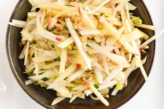 Kohlrabi, Apple, And Walnut Slaw Salad
