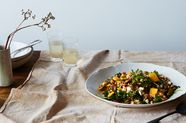 Farro Salad with Onion Confit, Persimmon, and Arugula