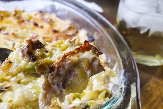 Creamy Cabbage, Leek and Swiss Casserole