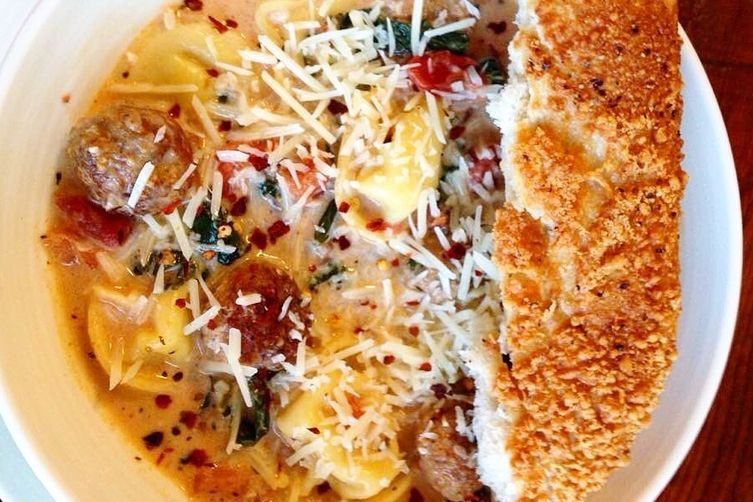 Creamy Tomato Tortellini + Italian Meatball Soup