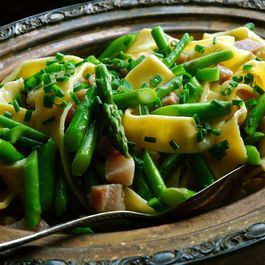 Asparagus on Egg Noodles and Guanciale