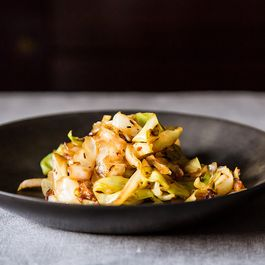 Stir-Fried Cabbage with Fennel Seeds + Banana Cardamom Milkshake