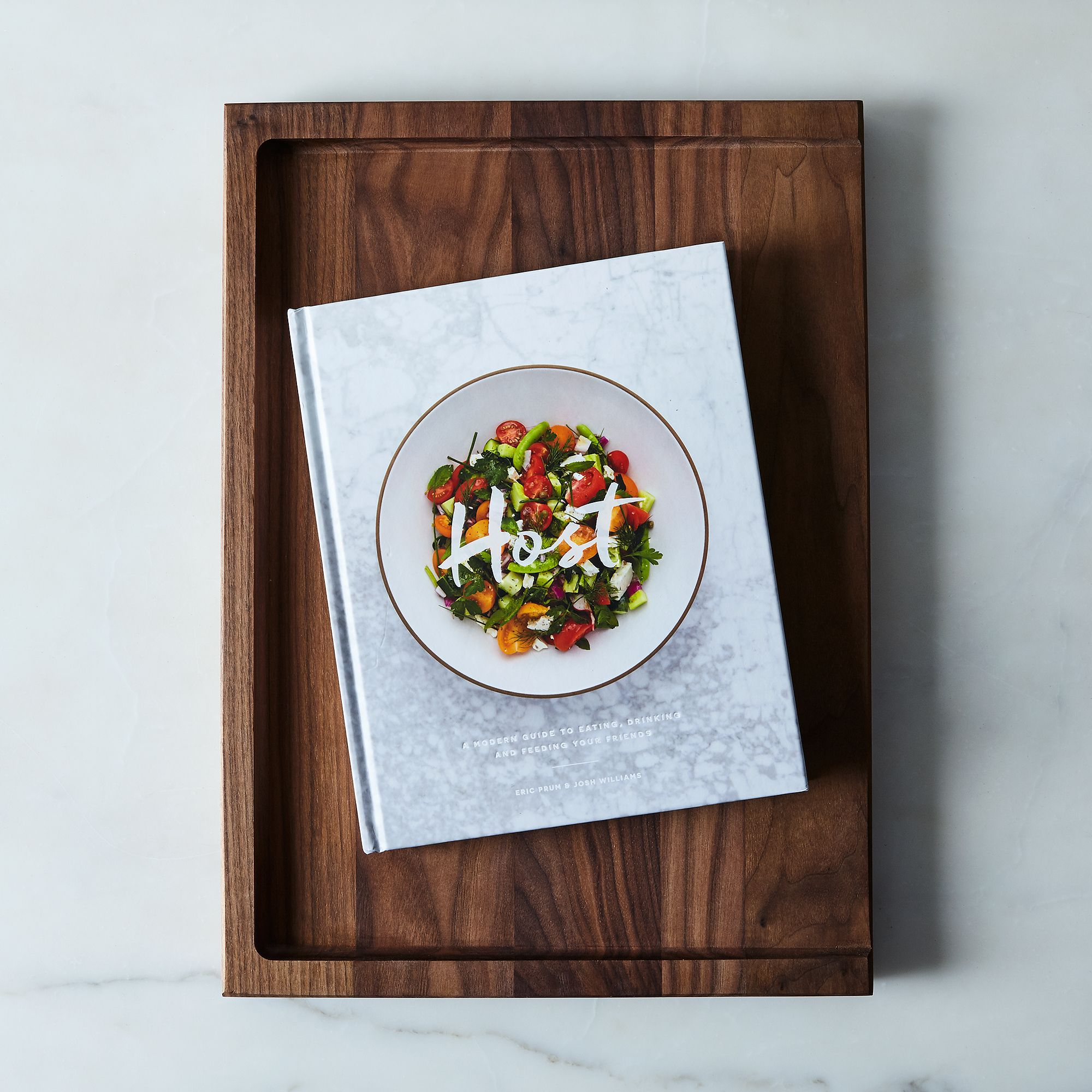 Host Cookbook & Walnut Cutting Board Host Gift Set