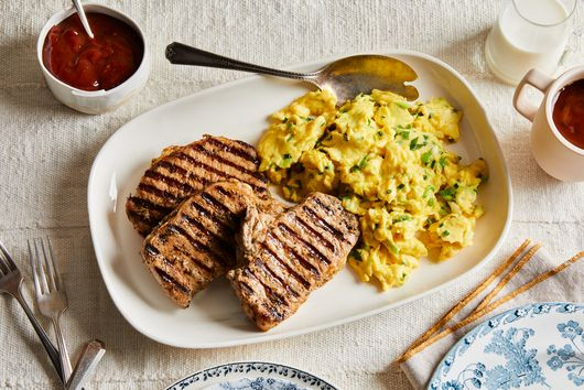 Tuffy Stone's Grilled Pork Chops with Chile Ketchup & Eggs