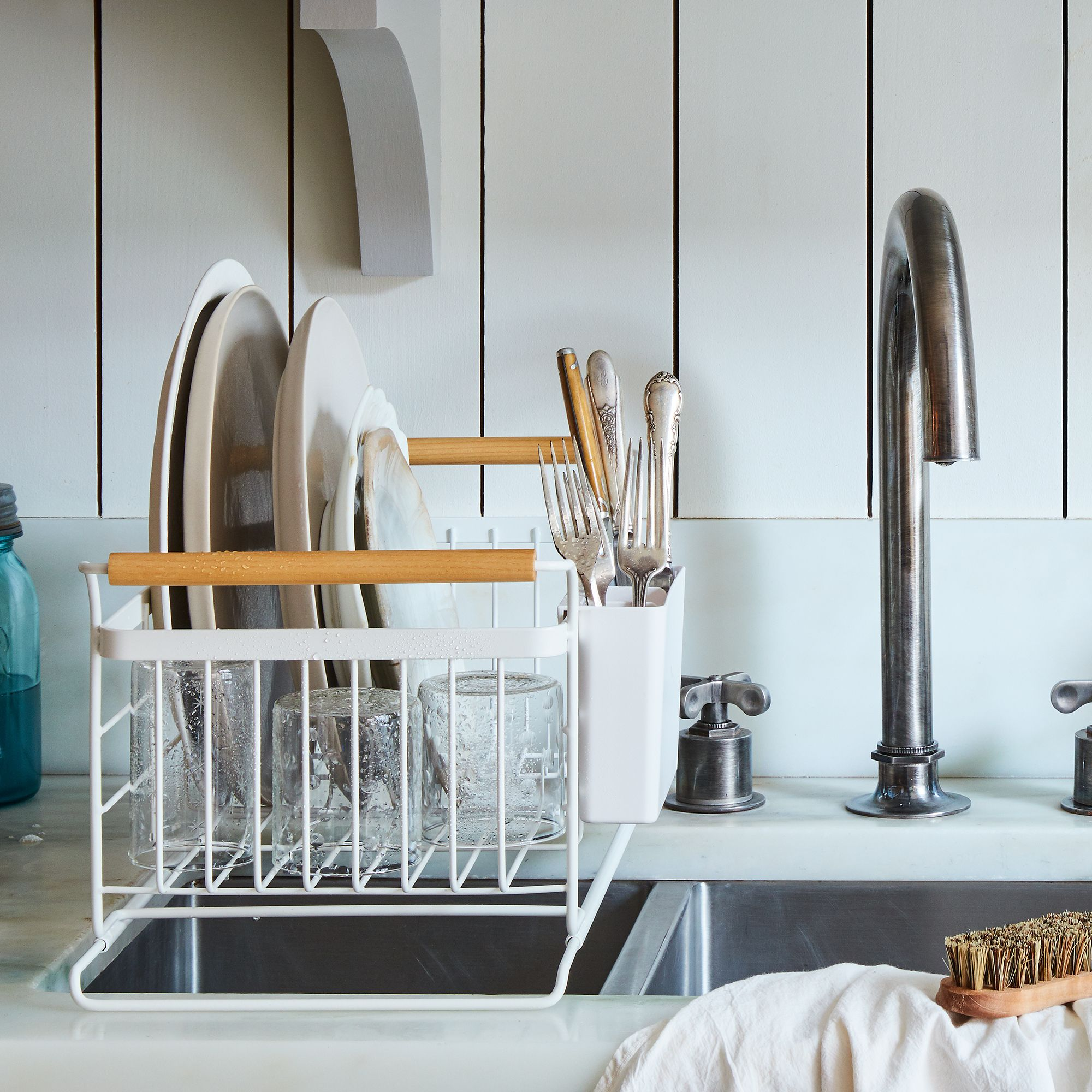 Kitchen Sink Drain Rack Over the sink wood handled dish rack on food52 workwithnaturefo