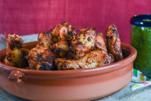 Chipotle Wings with Roasted Poblano Dipping Sauce