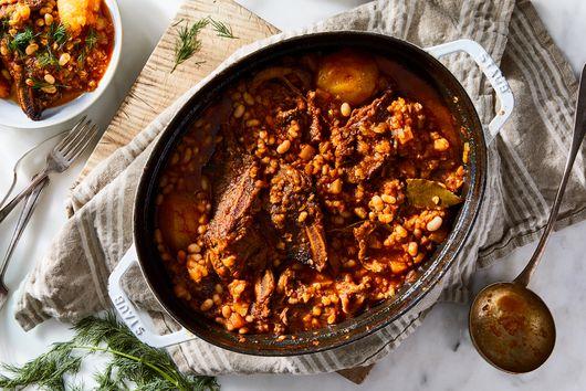 Garlicky Short Rib Cholent With Buckwheat & White Beans