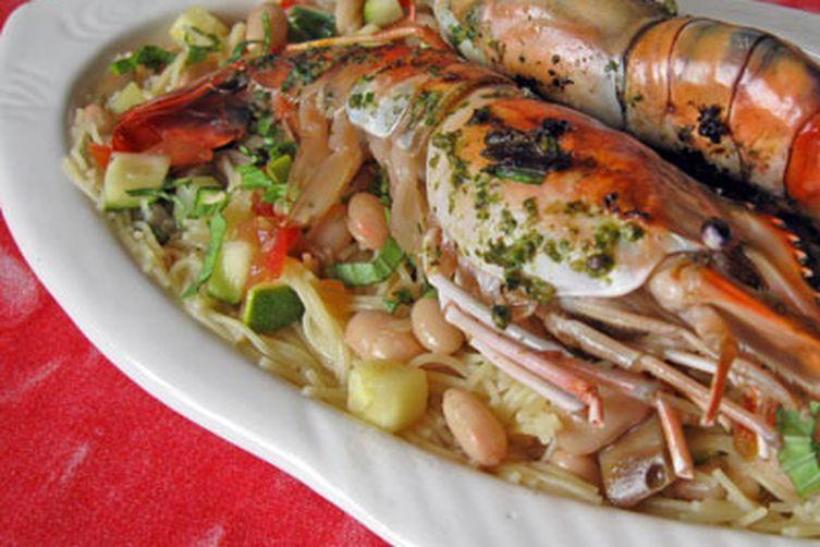 Grilled Prawns with Pasta au Pistou