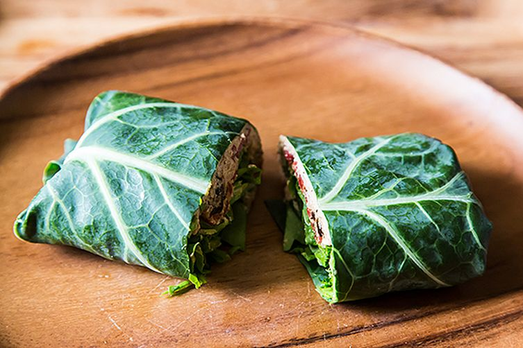 Collard Wraps with Herbed Cashew Spread and Roast Peppers
