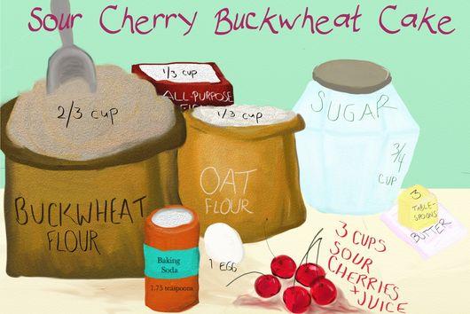 Sour Cherry Buckwheat Cake