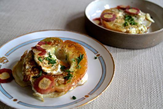 Eggs in an Heirloom tomato basket