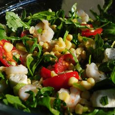 Ouzo Poached Shrimp with Tomatoes and Corn Salad