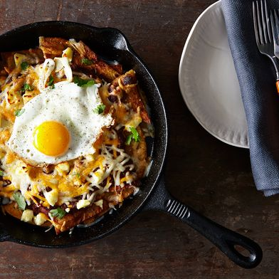 Red Chilaquiles with Fried Eggs