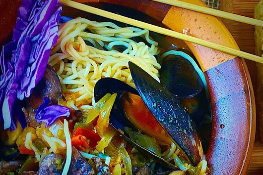 Spicy Tofu Shirataki  with mussels