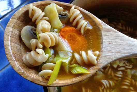"""Comforting """"Chicken-less"""" Noodle Soup"""