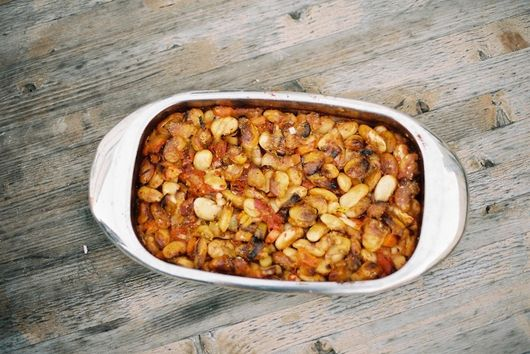 Oven baked giant beans with two types of oregano