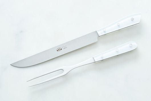 Compendio Carving & Serving Set with White Lucite Handles