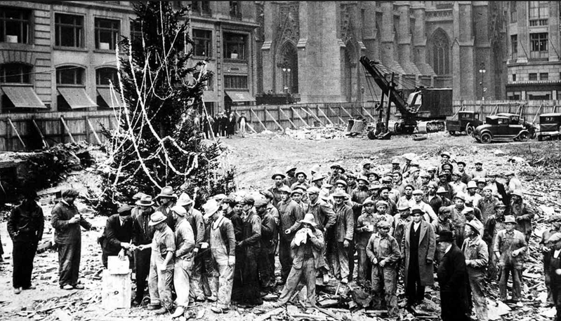 In December of 1931, these demolition workers at Rockefeller Center pooled their funds to buy a 20-foot balsam fir Christmas Tree.