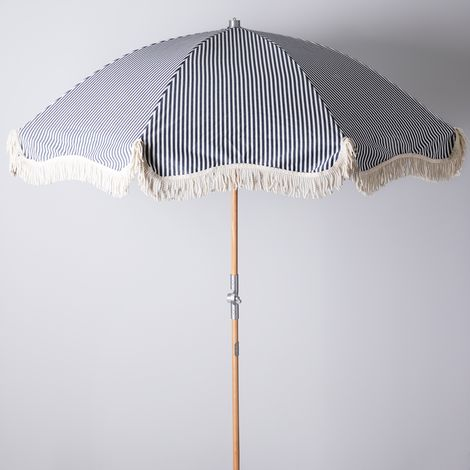 Navy & White Stripe Premium Beach Umbrella