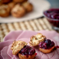 Mini Cashew Scones with Mixed Berry Compote