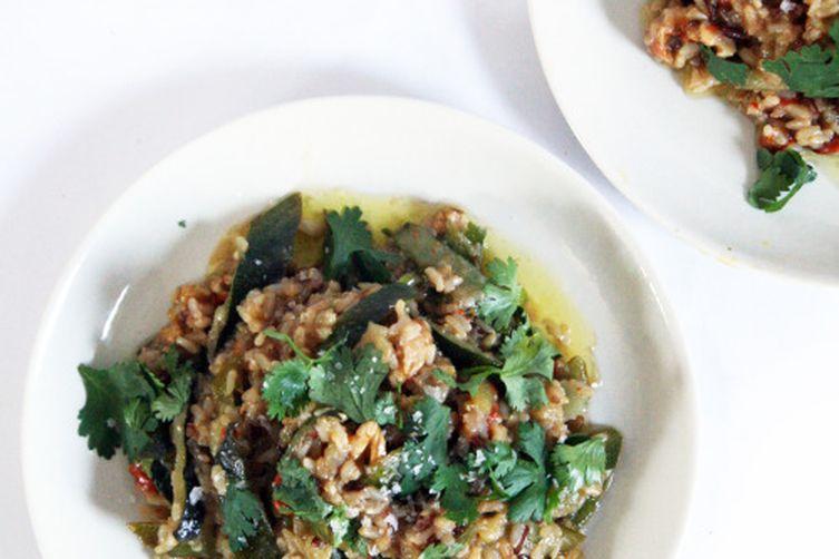 Coconut and Zucchini Rice with Walnuts and Saffron