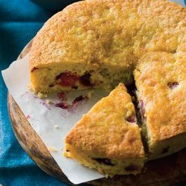 Cornmeal Cake with Fresh Corn and Raspberries