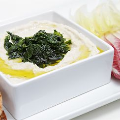 Cannellini bean dip with pan-fried mint